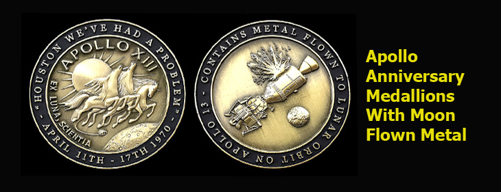 Apollo Anniversary Medallions with Moon Flown Metal