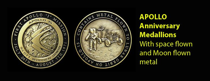 Limited Edition Apollo Medallions with space flown and moon flown metal