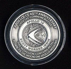 Apollo 15 40th Anniversary Medallion with Space Flown Metal